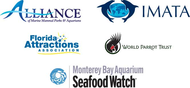 Alliance or Marine Mammal Parks and Attractions, IMATA, Florida Attractions Association, World Parrot Trust, Monterey Bay Aquarium Seafood Watch